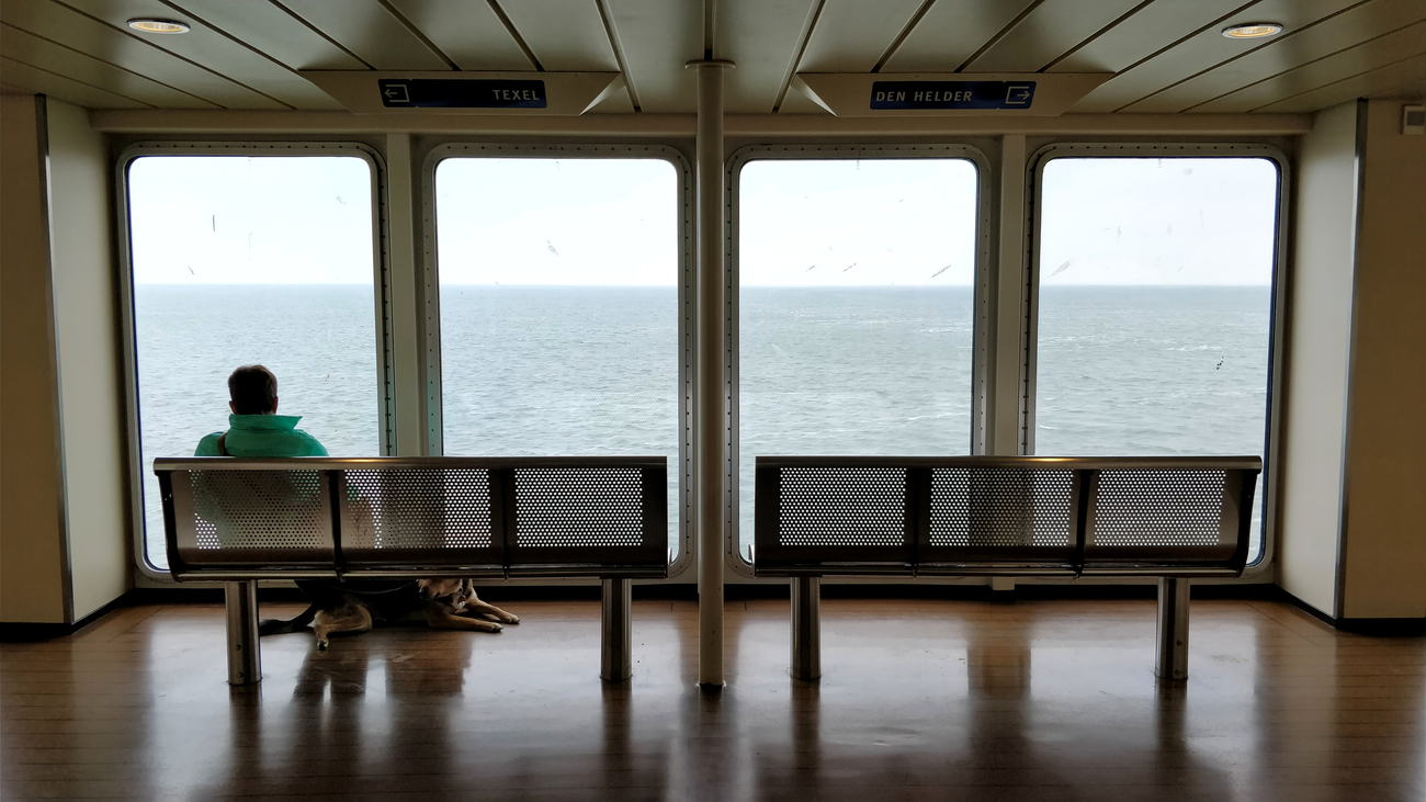 A man and his dog on the ferry from Den Helder to Texel, Netherlands.